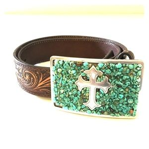 Nocona Ladies Western Turquoise Cross Leather Belt